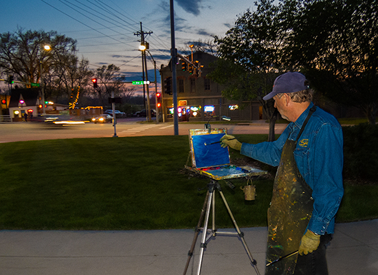 Photo of John Hulsey painting a nocturne