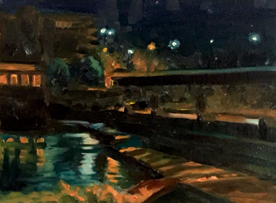oil painting of a the Kaw river at night © John Hulsey