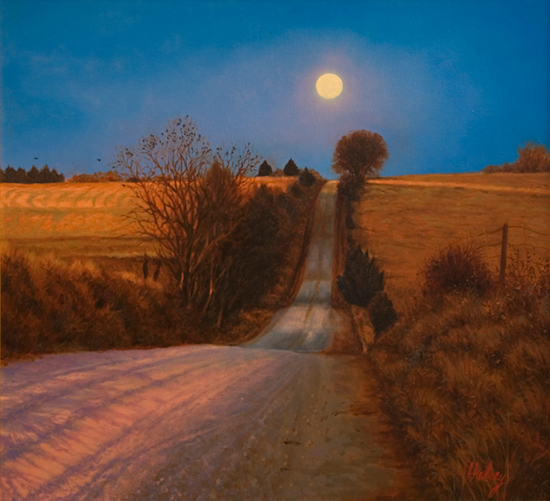 Moonrise Road, Oil, © J. Hulsey