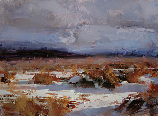 Oil Painting of Golden Winter, 12 x16, © Tibor Nagy