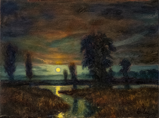 Night Fishing, Full Moon, Oil, © John Hulsey