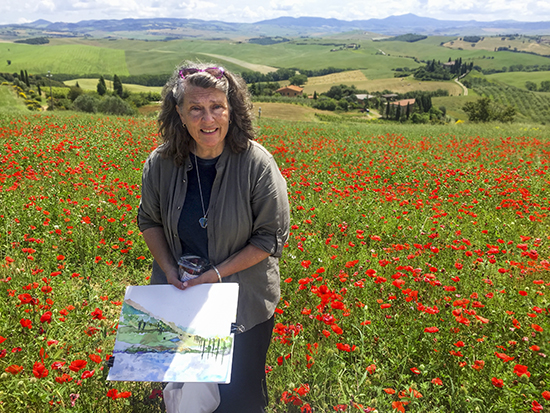 Photograph of Ann in the Poppies of Tuscany