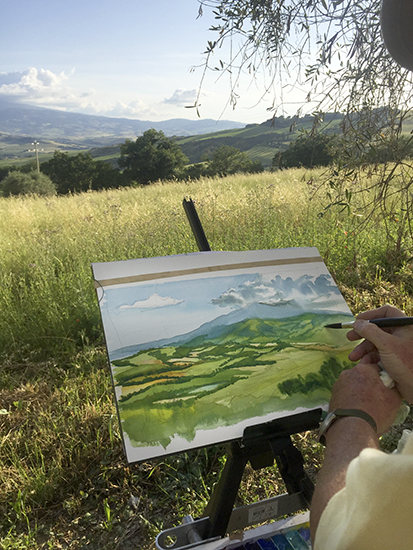 John Demonstrates in Watercolor at Dopolavoro © A. Trusty