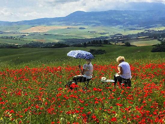 Students Painting in the Poppy Fields of Tuscany