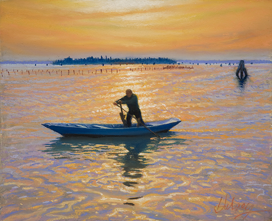 Pastel Painting by John Hulsey of the Burano Rower
