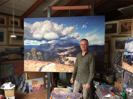 Warwick Fuller with his oil painting Into the Mystic 1.5 x 2.2 m, © Warwick Fuller