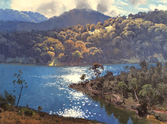 Morning Light on Lake Lyall, 45 x 60 cm, oil, © Warwick Fuller