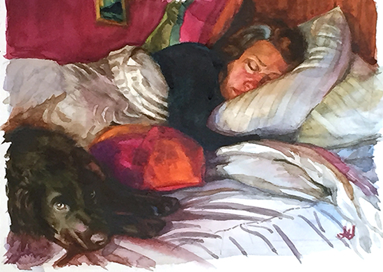 watercolor study of woman and dog on bed, ©John Hulsey