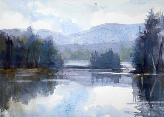 watercolor of an Adirondack lake by Sarah Yeoman