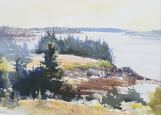 watercolor of hillside in Maine by George Van Hook