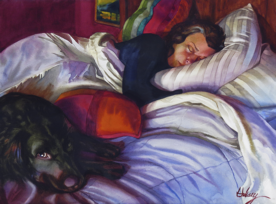 watercolor painting of woman sleeping with dog