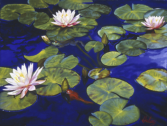 "Nymphaea III, Watercolor, 21 x 27"", © John Hulsey"