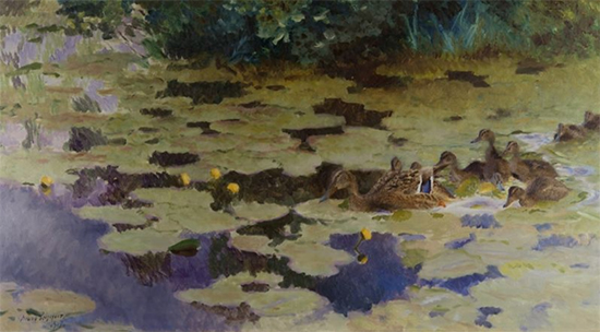 Brood of Ducklings Among Yellow Water Lilies, 1917, Bruno Liljefors