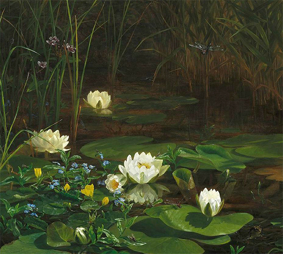 Forest Lake with Blooming Water Lilies and Insects, Anthonore Christensen