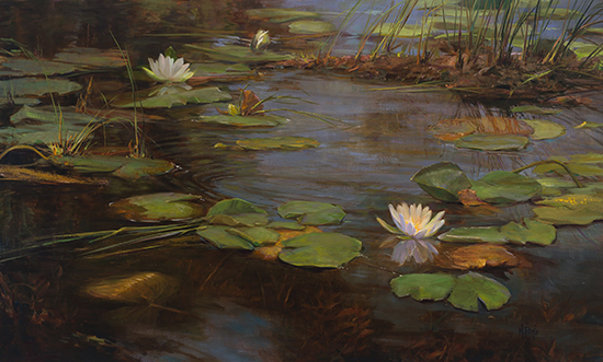 "The Cycle of Lilies, 29 x 48"",  Oil, © Mary Pettis"