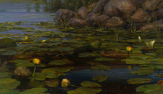 "The Enchanted Lake - Lilies under the Footbridge, 28 x 48"" Oil, © Mary Pettis"