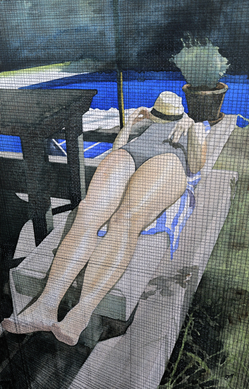 watercolor of woman reclining by a pool seen through a screen door, by Toby Haynes