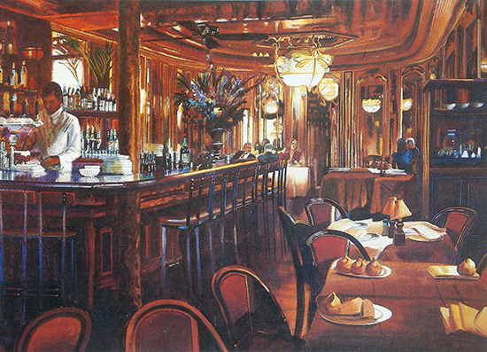Watercolor of interior of a bar, by Rusty Walker