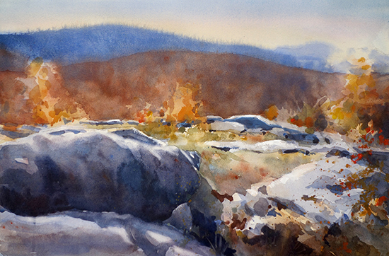 Landscape Watercolor Painting by Sarah Yeoman